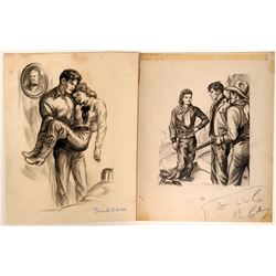 Cowboy Illustration of Two Men Confronting Woman  #109856