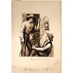 Cowboy Watercolor Illustration of  Barn Talk  #109779