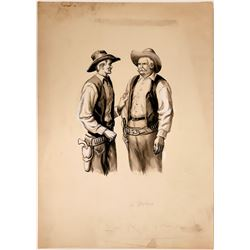 "Cowboy Watercolor Illustration Titled ""Calm Down, Pete""  #109845"