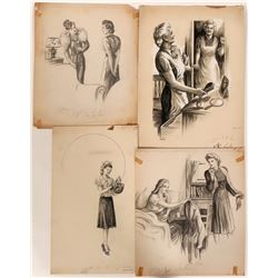 Illustrations in Pencil of Women Lot of Four  #110429