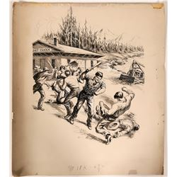 Ink Illustration of Miners Fighting at Trout Creek  #110425