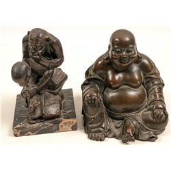 Statues of  Darwin's Monkey  & Buddha by Bronze Masters  #105458