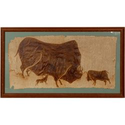 Vintage Folk Painting of Bison  #109861