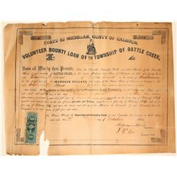 Volunteer County Loan for the Township of Battle Creek - Civil War (#1)  #105933