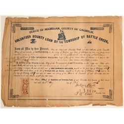 Volunteer County Loan for the Township of Battle Creek - Civil War (#3)  #105931