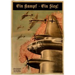 "German Propaganda Anti-England Poster, c 1939-40 ""The Fight, The Victory"" - Repro #110648"