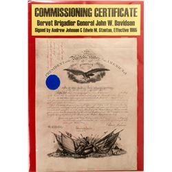 Commissioning Certificate of Brigadier General John W. Davidson  #59330