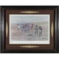 Framed Capt Lewis Print by Charles Russell  #87615