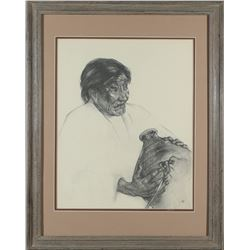 Native American Woman with Jug Charcoal Print by Caples  #87600