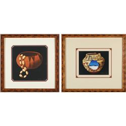 Robert Montanucci Framed Prints of Native American Basketses (2)  #87738