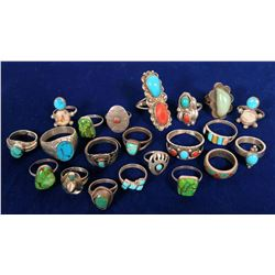 Native American Indian Sterling Silver Rings / Turquoise, Coral Jewelry  (21 items)  #109733