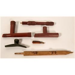 Three Catlinite pipes and Two Stems  #110458