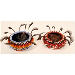 Paiute Beaded Baskets w/ Feathers  #109760