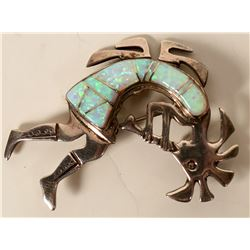 Kokopelli Sterling Fire Opal Pin  #109105