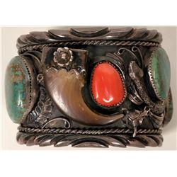 Navajo Style Sterling Silver Bear Claw Bracelet  #109479