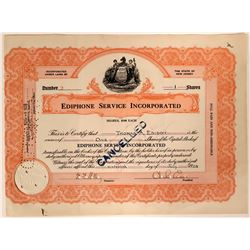 Ediphone Service Inc. Stock Signed by Thomas Edison and Brother Charles  #110203