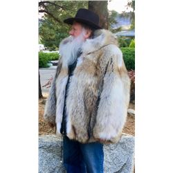 Canadian Coyote Fur Hooded Coat, Size XL  #76263