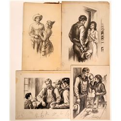 Cowboy interior Scenes with Women, Original Magazine Art, c1920-40  #109869