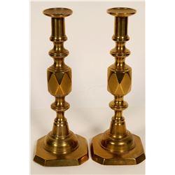 Queen of Diamond Brass Candlesticks  #109840