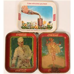 3 Coca Cola Serving Trays, 1927, 1937 and Later Date  #110285