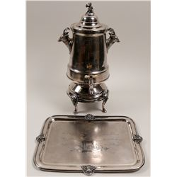 Silver Engraved Coffee Urn with Matching Tray  #106385