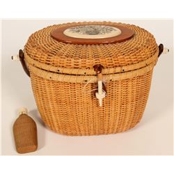 Woven Sewing Basket and Woven Bottle  #109763