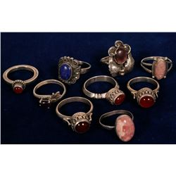 Sterling Silver Rings, Vintage Native American Jewelry, Semi Precious Stones (10 Items)  #109737
