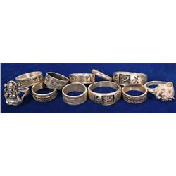 Sterling Silver Rings - 6 Native American Pieces, 4 with 14k Gold Special Design/ 11 Items.  #109739