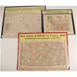 Maps of Western States, Wyoming, Kansas, South Dakota  #72008