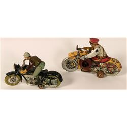 Pair of Antique Metal Motorcycle Toys  #109805