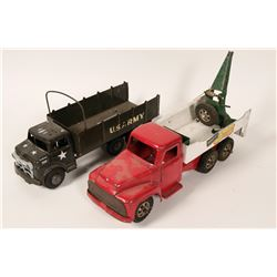 Two Metal Toy Trucks, Buddy L Repair- It Unit and a Marx Lumar U.S. Army Transport  #110289