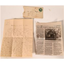 Three Rivers Cover and letter, 1890.  #110192