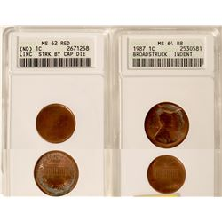 Certified Mint State Error Lincoln Cents Lot of 2.  (UNC)  #109817