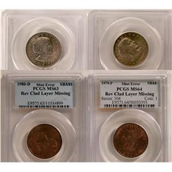 Susan B. Anthony Uncirculated Mint State Dollars, Error Coins Certified by PCGS - Lot of 2  #109816