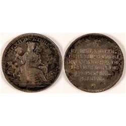 1828 Mexican Liberty Medal in San Luis Potosi Silver  #110971