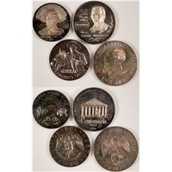 1960s Zapata, Hildalgo, Degollado, and Villa Silver Medals  #110966