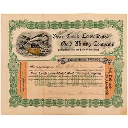 Visually Spectacular Bear Creek Consolidated Gold Mining Company Stock  #103598