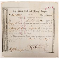 Sopori Land and Mining Company Stock Certificate  #106526