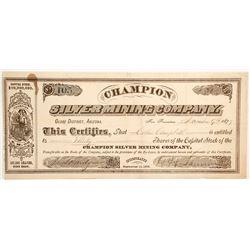 Champion Silver Mining Company Stock  #77001