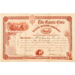 Santa Cruz Silver Mining Company Stock Certificate  #100903