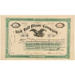 Rich Hill Placer Company Stock Certificate  #102523