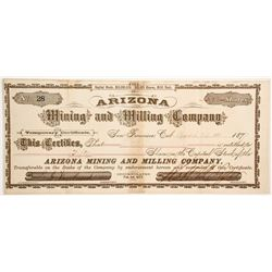 Arizona Mining and Milling Company - Rare Temporary Stock  #77016