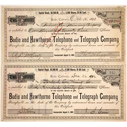 Bodie and Hawthorne Telephone and Telegraph Co. Stock Certificate issued to Bodie Mines  #79963