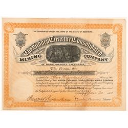 Hidden Treasure Consolidated Mining Co. Stock Certificate  #103501
