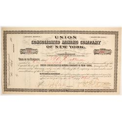 Union Consolidated Mining Company of New York Stock  #86776