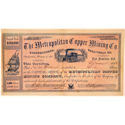 Metropolitan Copper Mining Company Stock Certificate  #107745