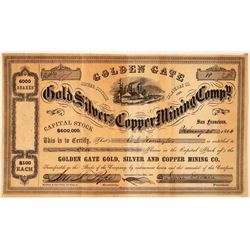 Golden Gate Gold, Silver & Copper Mining Co. Stock Certificate  #107739