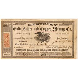 Kentucky Gold, Silver & Copper Mining Co. Stock Certificate  #101499