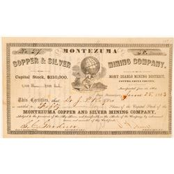 Montezuma Copper & Silver Mining Co. Stock Certificate  #101508