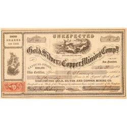 Unexpected Gold, Silver & Copper Mining Co. Stock Certificate  #100998